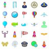 Iconos que encienden fijados, estilo de la historieta Fotos de archivo libres de regalías