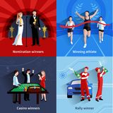 Iconos que ganan fijados Imagen de archivo libre de regalías