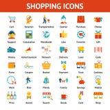 Iconos que hacen compras coloreados Imagen de archivo