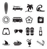 Iconos que practican surf Imagen de archivo