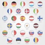 Iconos que representan las banderas de los países de UE Imagen de archivo