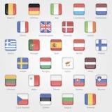 Iconos que representan las banderas de los países de UE Fotos de archivo libres de regalías