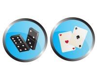 Iconos que representan los dominós y las tarjetas que juegan stock de ilustración
