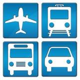 Iconos que viajan azules Fotografía de archivo libre de regalías