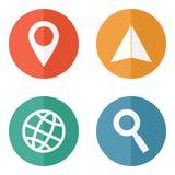 Iconos que viajan de la ubicación Fotografía de archivo