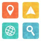 Iconos que viajan de la ubicación Imágenes de archivo libres de regalías