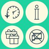 Iconos que viajan fijados Colección de reloj de viaje, de móvil prohibido, de información y de otros elementos También incluye sí Imagenes de archivo