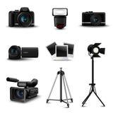 Iconos realistas de la cámara ilustración del vector