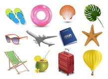 Iconos realistas de la playa de la playa de las vacaciones de verano fijados aislados Foto de archivo libre de regalías