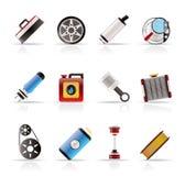 Iconos realistas de las piezas y de los servicios del coche Imagen de archivo libre de regalías