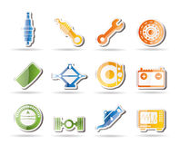 Iconos realistas de las piezas y de los servicios del coche Imagen de archivo