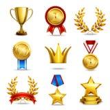 Iconos realistas del premio fijados