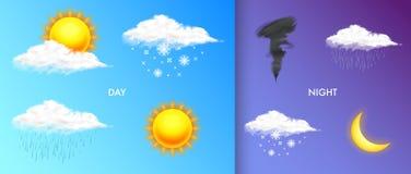 Iconos realistas modernos del tiempo fijados Símbolos de la meteorología en fondo transparente Ejemplo del vector del color para  stock de ilustración