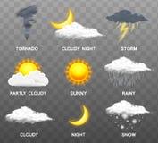 Iconos realistas modernos del tiempo fijados Símbolos de la meteorología en fondo transparente Ejemplo del vector del color para  ilustración del vector