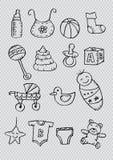 Iconos recién nacidos del bebé stock de ilustración
