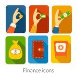 Iconos rectangulares del negocio con las esquinas redondeadas Foto de archivo libre de regalías