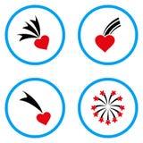 Iconos redondeados corazón del vector que caen Fotografía de archivo libre de regalías