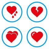Iconos redondeados corazones del vector del amor Imágenes de archivo libres de regalías