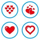 Iconos redondeados corazones del vector del amor Foto de archivo