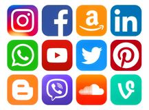 Iconos redondeados de medios sociales Fotos de archivo libres de regalías