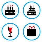 Iconos redondeados del vector de la torta de cumpleaños Imagen de archivo libre de regalías
