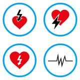 Iconos redondeados del vector del ataque del corazón Imagen de archivo libre de regalías
