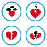 Iconos redondeados del vector del corazón quebrado Fotografía de archivo libre de regalías