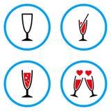 Iconos redondeados del vector del vidrio de cóctel Fotografía de archivo