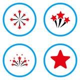 Iconos redondeados fuegos artificiales del vector de la estrella Fotos de archivo