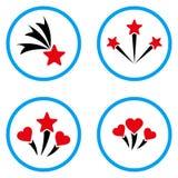 Iconos redondeados fuegos artificiales preciosos del vector Imágenes de archivo libres de regalías