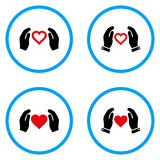 Iconos redondeados manos del vector del cuidado del amor Fotografía de archivo libre de regalías