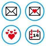 Iconos redondeados mensaje del vector del amor Fotos de archivo