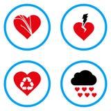 Iconos redondeados problemas del vector del amor Foto de archivo