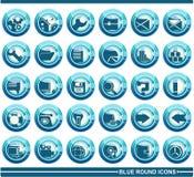 Iconos redondos azules Fotos de archivo