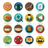 Iconos redondos de CRM fijados stock de ilustración