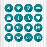 Iconos redondos de la aguamarina Foto de archivo