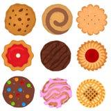 Iconos redondos de las galletas del color de la historieta fijados Vector libre illustration