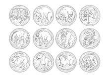 Iconos redondos de los animales agresivos chinos del zodiaco fijados Toro del buey del tigre del perro de mono del caballo del co stock de ilustración