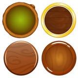 Iconos redondos de madera del juego de la historieta ilustración del vector