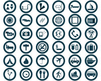 Iconos redondos del recorrido fijados ilustración del vector