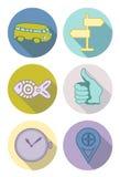 Iconos redondos en colores en colores pastel Foto de archivo libre de regalías