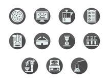 Iconos redondos grises de la bioquímica fijados ilustración del vector