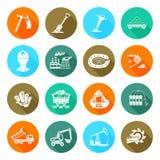 Iconos redondos planos del equipo de la mina de carbón fijados Fotografía de archivo