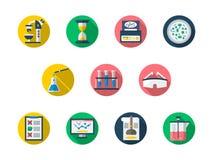 Iconos redondos planos forenses fijados stock de ilustración