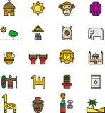 Iconos relacionados con África Imagen de archivo