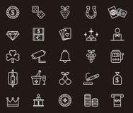 Iconos relacionados con el juego y el casino Imagen de archivo libre de regalías