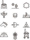 Iconos relacionados con los nativos americanos Imágenes de archivo libres de regalías