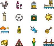 Iconos relacionados con Portugal Imagen de archivo
