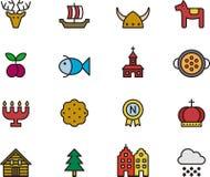 Iconos relacionados con Suecia Imagen de archivo libre de regalías