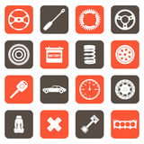 Iconos relacionados de las partes de automóvil Imagen de archivo libre de regalías